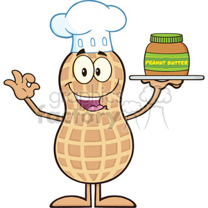 8640 Royalty Free RF Clipart Illustration Chef Peanut Cartoon Character Holding A Jar Of Peanut Butter Vector Illustration Isolated On White clipart. Royalty-free image # 396444