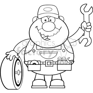 8552 Royalty Free RF Clipart Illustration Black And White Smiling Mechanic Cartoon Character With Tire And Huge Wrench Vector Illustration Isolated On White clipart. Commercial use image # 396466
