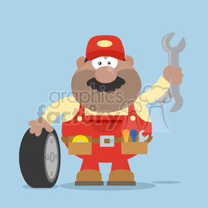 8560 Royalty Free RF Clipart Illustration Smiling African American Mechanic Cartoon Character With Tire And Huge Wrench Flat Style Vector Illustration With Background clipart. Commercial use image # 396516