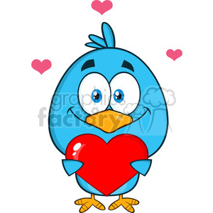 8821 Royalty Free RF Clipart Illustration Cute Blue Bird Cartoon Character Holding A Love Heart Vector Illustration Isolated On White clipart. Commercial use image # 396556