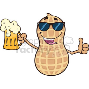 8748 Royalty Free RF Clipart Illustration Peanut Cartoon Mascot Character With Sunglasses Holding A Beer And Thumb Up Vector Illustration Isolated On White clipart. Royalty-free image # 396570