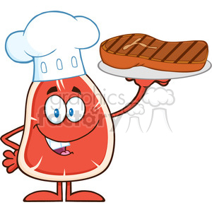 8412 Royalty Free RF Clipart Illustration Chef Steak Cartoon Mascot Character Holding Up A Platter With Grilled Steak Vector Illustration Isolated On White clipart. Royalty-free image # 396590