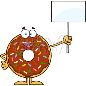 8698 Royalty Free RF Clipart Illustration Happy Chocolate Donut Cartoon Character With Sprinkles Holding Up A Blank Sign Vector Illustration Isolated On White