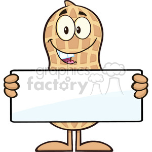 8633 Royalty Free RF Clipart Illustration Peanut Cartoon Character Holding a Blank Sign Vector Illustration Isolated On White clipart. Royalty-free image # 396620