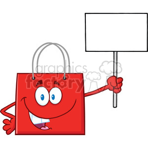8757 Royalty Free RF Clipart Illustration Red Shopping Bag Cartoon Character Holding Up A Blank Sign Vector Illustration Isolated On White clipart. Royalty-free image # 396634