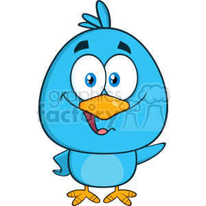 8811 Royalty Free RF Clipart Illustration Cute Blue Bird Cartoon Character Waving Vector Illustration Isolated On White clipart. Royalty-free image # 396650