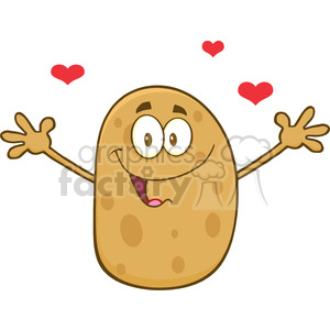 8787 Royalty Free RF Clipart Illustration Happy Potato Cartoon Character With Hearts And Open Arms For A Hug Vector Illustration Isolated On White clipart. Royalty-free image # 396688