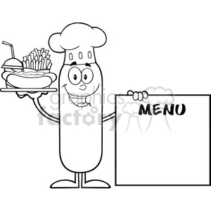 8495 Royalty Free RF Clipart Illustration Black And White Chef Sausage Cartoon Character Carrying A Hot Dog, French Fries And Cola Next To Menu Board Vector Illustration Isolated On White clipart. Commercial use image # 396722