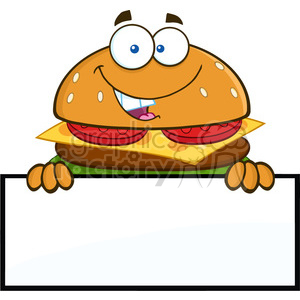 8576 Royalty Free RF Clipart Illustration Hamburger Cartoon Character Over A Blank Sign Vector Illustration Isolated On White clipart. Commercial use image # 396724