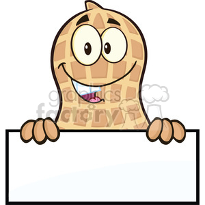 8628 Royalty Free RF Clipart Illustration Peanut Cartoon Character Over A Sign Vector Illustration Isolated On White clipart. Royalty-free image # 396752