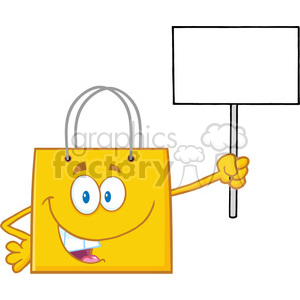 8759 Royalty Free RF Clipart Illustration Yellow Shopping Bag Cartoon Character Holding Up A Blank Sign Vector Illustration Isolated On White clipart. Royalty-free image # 396780