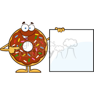 8700 Royalty Free RF Clipart Illustration Chocolate Donut Cartoon Character With Sprinkles Showing A Blank Sign Vector Illustration Isolated On White clipart. Commercial use image # 396808