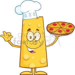 8511 Royalty Free RF Clipart Illustration Chef Cheese Cartoon Character Holding A Pizza Vector Illustration Isolated On White clipart. Commercial use image # 396868