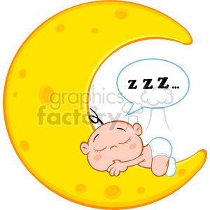 Royalty Free RF Clipart Illustration Cute Baby Boy Sleeps On Moon With Speech Bubble clipart. Commercial use image # 396878