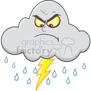Royalty Free RF Clipart Illustration Angry Cloud With Lightning And Rain clipart. Commercial use image # 396888