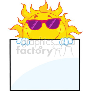 7044 Royalty Free RF Clipart Illustration Smiling Sun With Sunglasses Over A Sign Board clipart. Royalty-free image # 396908