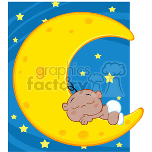 Royalty Free RF Clipart Illustration Cute African American Baby Boy Sleeps On Moon Cartoon Character Over Blue Sky With Stars clipart. Commercial use image # 396918