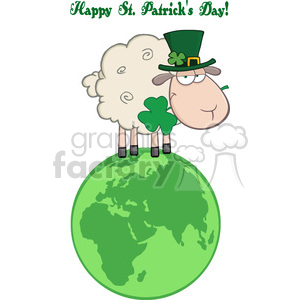 Royalty Free RF Clipart Illustration Irish Sheep Carrying A Clover On A Globe Under Text clipart. Royalty-free image # 396938