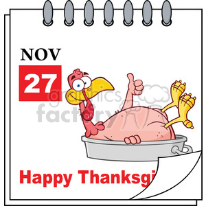 Royalty Free RF Clipart Illustration Cartoon Calendar Page With Smiling Turkey Bird In The Pan Giving A Thumb Up And Happy Thanksgiving Greeting clipart. Commercial use image # 396964