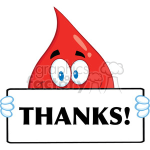 Royalty Free RF Clipart Illustration Smiling Red Blood Drop Cartoon Mascot Character Holding A Banner With Text Thanks clipart. Commercial use image # 396974