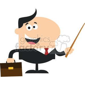 Manager Holding A Pointer Stick Flat Style Vector Illustration