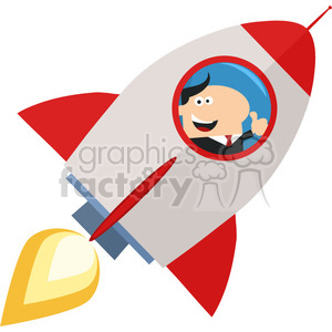 8329 Royalty Free RF Clipart Illustration Manager Launching A Rocket And Giving Thumb Up Flat Style Vector Illustration clipart. Royalty-free image # 397014