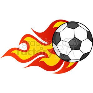 Royalty Free RF Clipart Illustration Flaming Soccer Ball