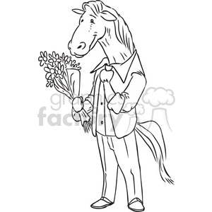 horse holding flowers for a date vector RF clip art images clipart. Commercial use image # 397103