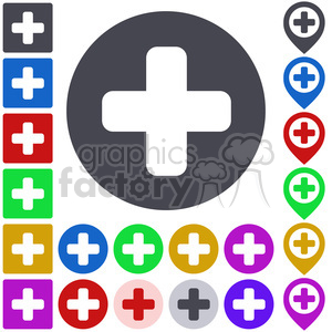 plus positive cross zoom yes button icon symbol sign set vector pin pointer pictogram app flat graphic design abstract web colored illustration seal simple label round ui icon+packs