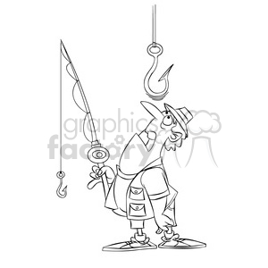 stan the cartoon fishing character watching a huge hook black white clipart. Commercial use image # 397377