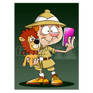 leo the cartoon safari character taking selfie with stuffed lion clipart. Commercial use image # 397417