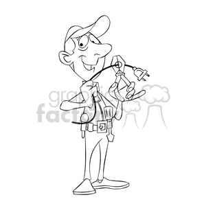 felix the cartoon handy man character black white clipart. Royalty-free image # 397447
