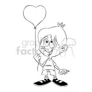 bryce the cartoon character holding heart balloon black white clipart. Commercial use image # 397547