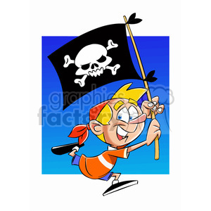 josh the cartoon character holding pirate flag clipart. Royalty-free image # 397587