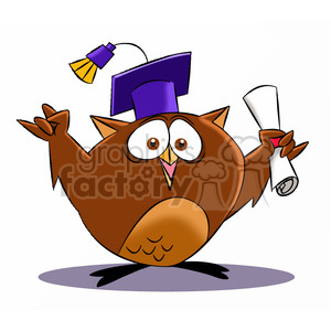 buho the cartoon owl graduating clipart. Commercial use image # 397597