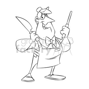 character mascot cartoon butcher chuck food black+white knife sharpener