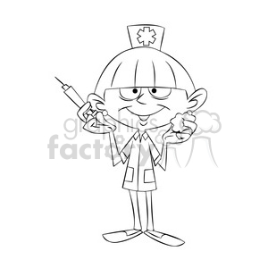 betty the cartoon nurse holding a hypodermic needle black white clipart. Commercial use image # 397737