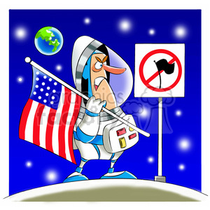 scotty the astronaut cartoon character mad about no flag zone clipart. Royalty-free image # 397747