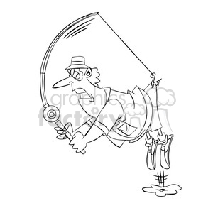 stan the cartoon fishing character catching himself black white clipart. Royalty-free image # 397767