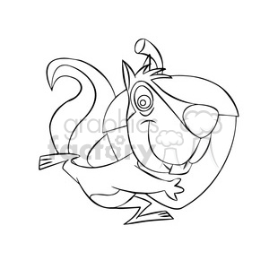 luke the cartoon squirrel carrying a large acorn black white clipart. Royalty-free image # 397797