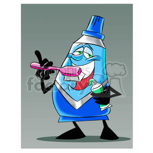 mo the toothpaste cartoon character brushing his teeth clipart. Royalty-free image # 397837