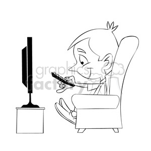 small boy binge watching tv cartoon black white clipart. Commercial use image # 397887