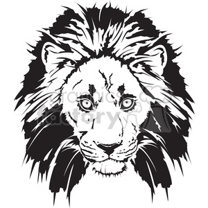 black and white lion head clipart. Royalty-free image # 398015