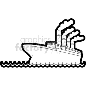 titanic ship in the ocean outline clipart. Commercial use image # 398105