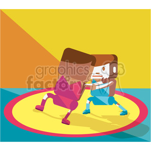 olympic wrestling sports characters illustration