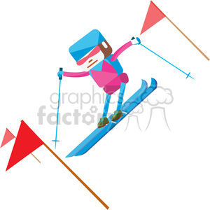 olympic alpine skier character illustration clipart. Commercial use image # 398145