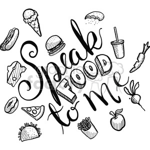 speak food to me calligraphy typography clipart. Royalty-free image # 398165