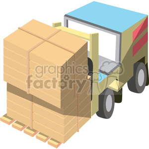 cartoon forklift with double load clipart. Royalty-free image # 398255