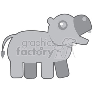 Gray_Hippo vector image RF clip art clipart. Royalty-free image # 398447