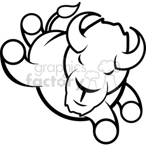buffalo jumping logo icon design black white clipart. Royalty-free image # 398782